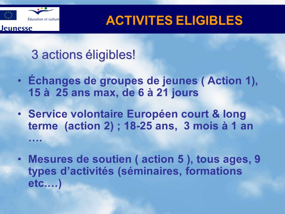 ACTIVITES ELIGIBLES 3 actions éligibles!