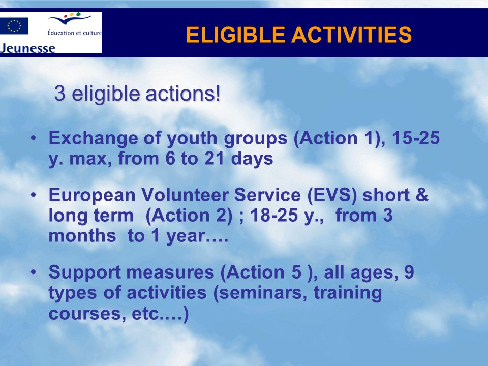 ELIGIBLE ACTIVITIES 3 eligible actions!