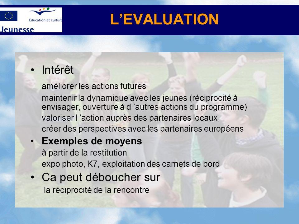 L'EVALUATION Intérêt améliorer les actions futures
