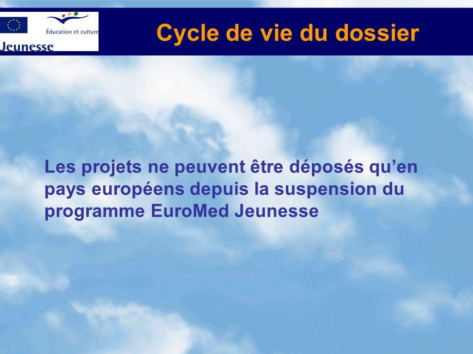 Cycle de vie du dossier Les projets ne peuvent être déposés qu'en pays européens depuis la suspension du programme EuroMed Jeunesse.
