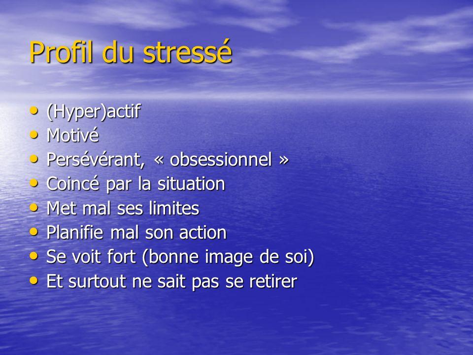 Profil du stressé (Hyper)actif Motivé Persévérant, « obsessionnel »