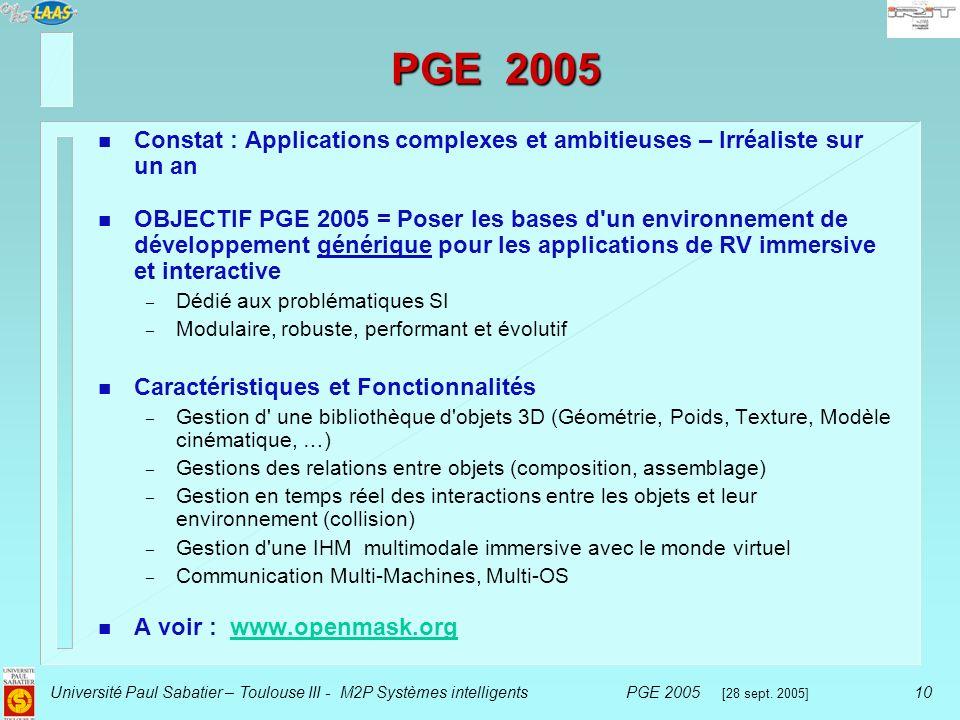 PGE 2005 Constat : Applications complexes et ambitieuses – Irréaliste sur un an.