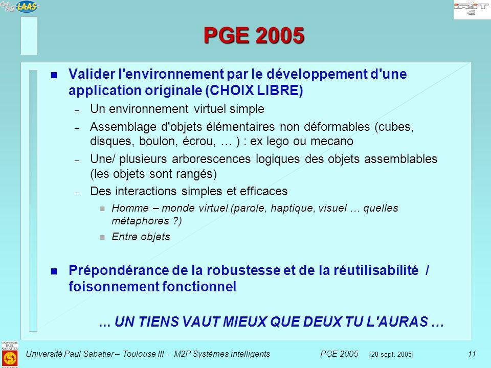 PGE 2005 Valider l environnement par le développement d une application originale (CHOIX LIBRE) Un environnement virtuel simple.