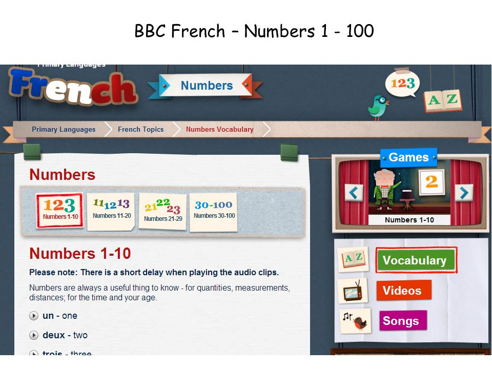 BBC French – Numbers 1 - 100 http://www.bbc.co.uk/schools/primarylanguages/french/numbers/