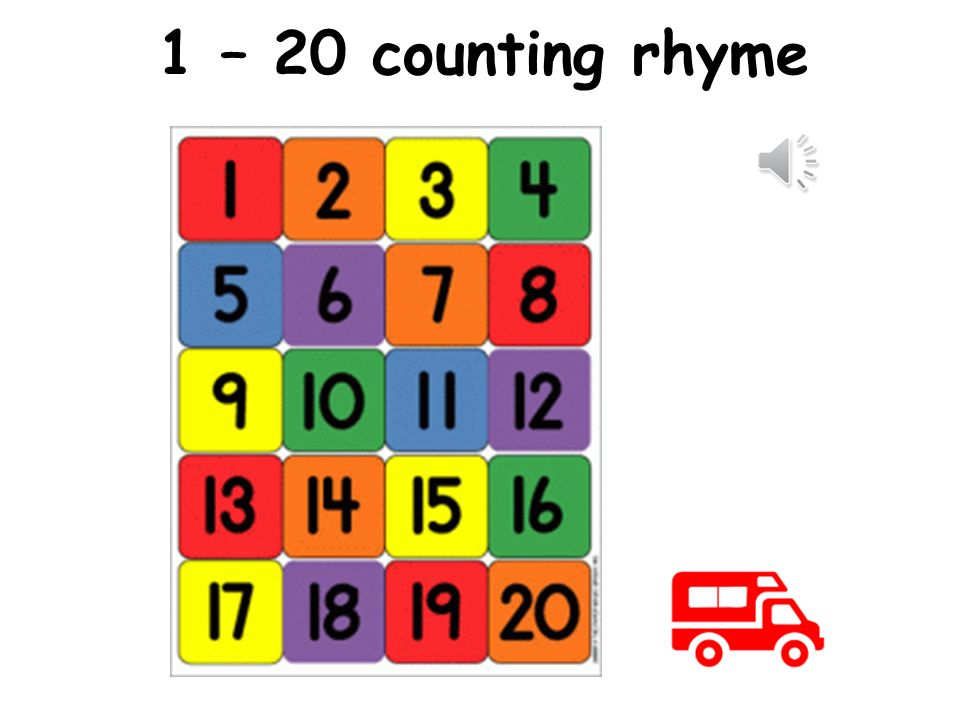 1 – 20 counting rhyme