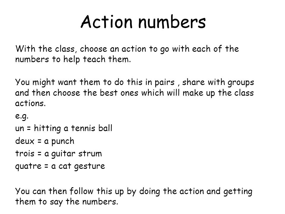 Action numbers