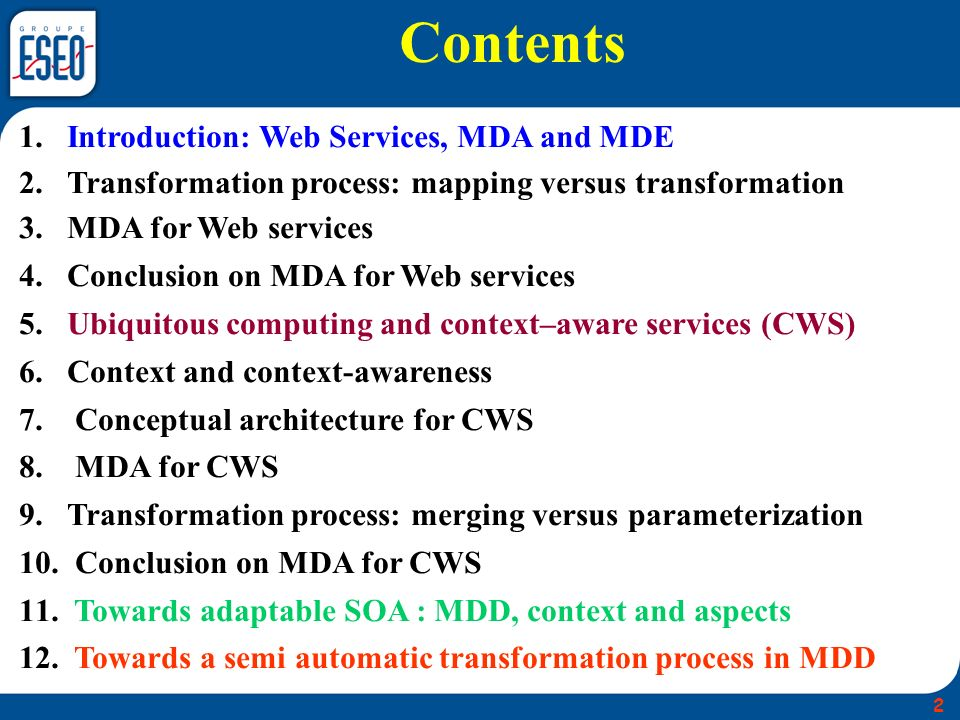 Contents Introduction: Web Services, MDA and MDE