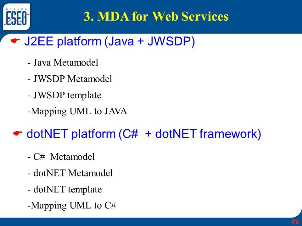 3. MDA for Web Services  J2EE platform (Java + JWSDP)