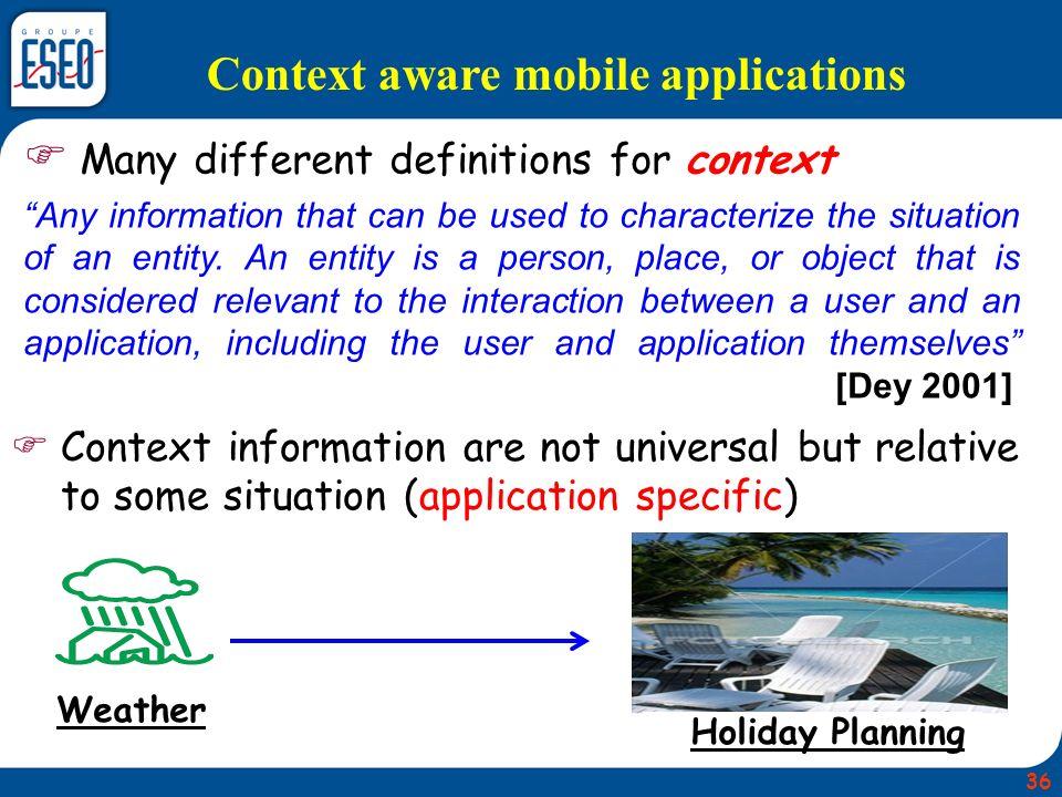Context aware mobile applications