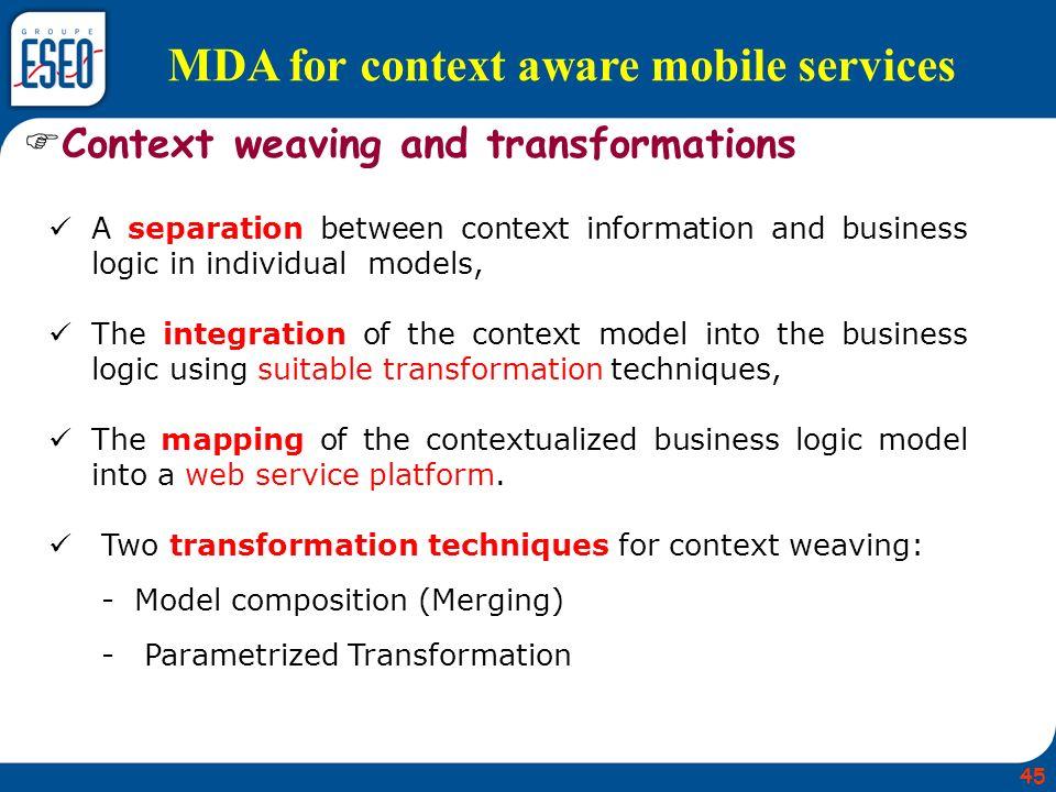MDA for context aware mobile services