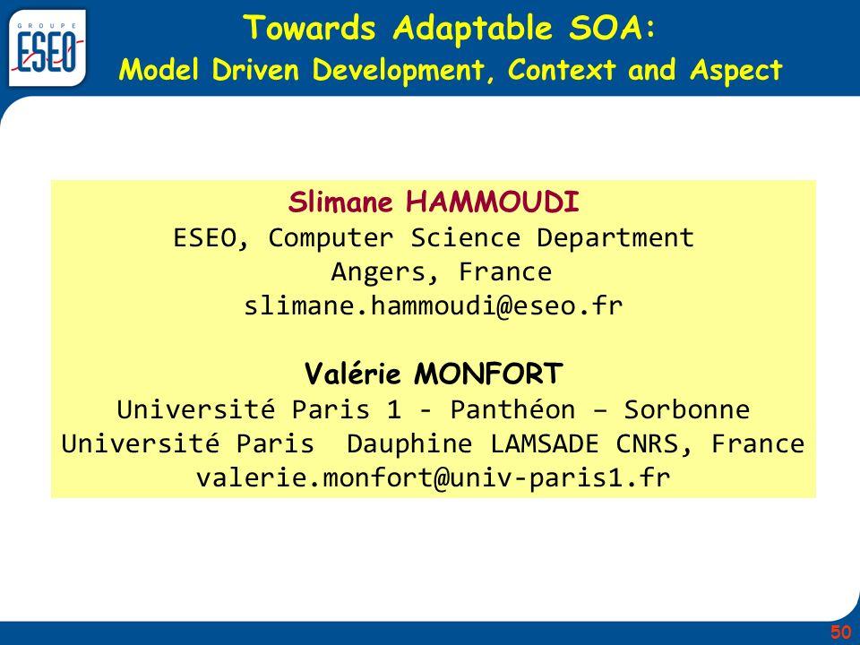 Towards Adaptable SOA: Model Driven Development, Context and Aspect