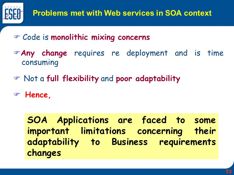 Problems met with Web services in SOA context