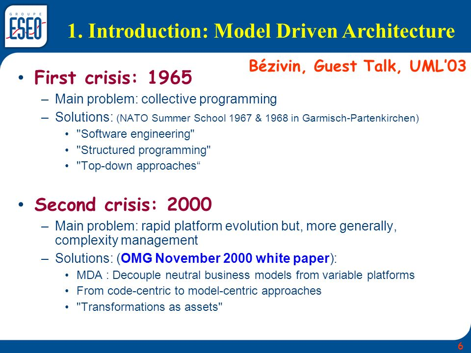 1. Introduction: Model Driven Architecture