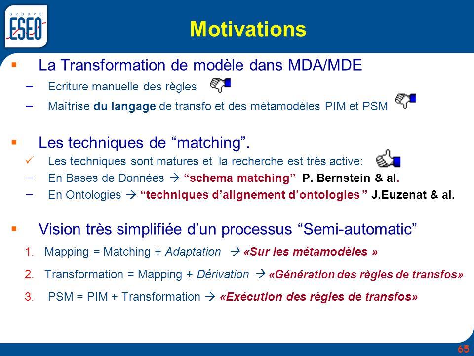 Motivations La Transformation de modèle dans MDA/MDE