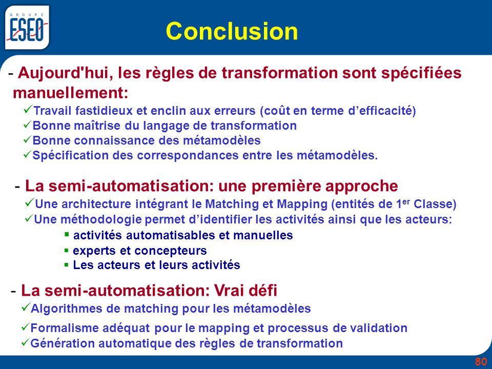 Conclusion Aujourd hui, les règles de transformation sont spécifiées manuellement: