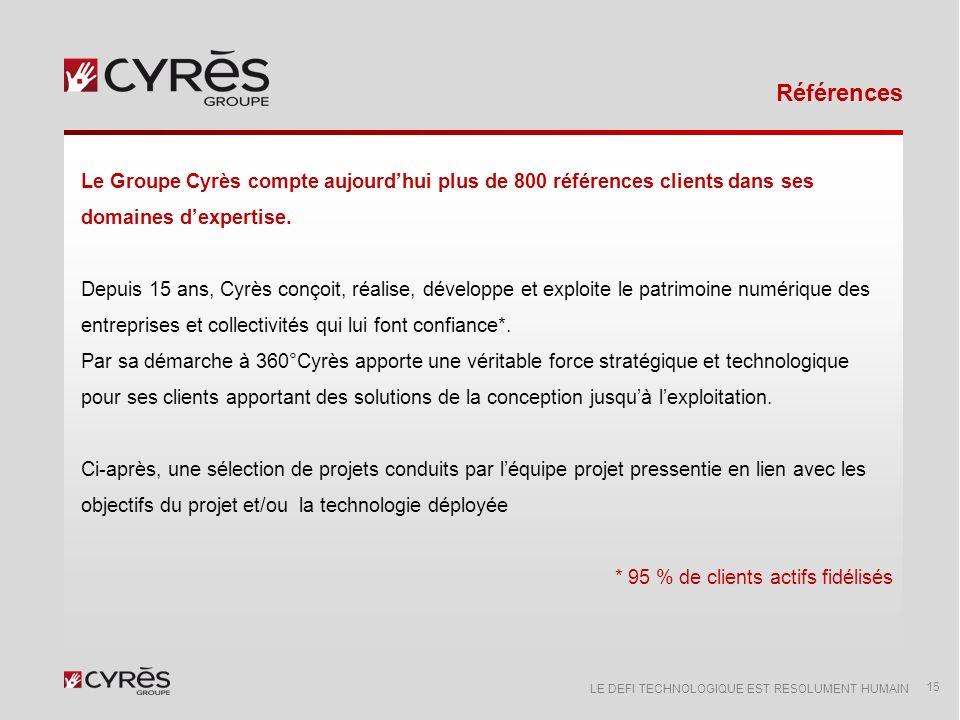 Références Le Groupe Cyrès compte aujourd'hui plus de 800 références clients dans ses domaines d'expertise.
