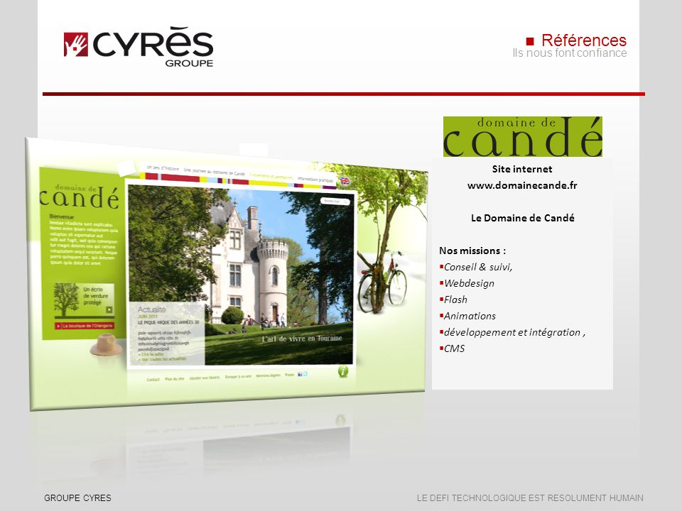 Références Ils nous font confiance Site internet www.domainecande.fr