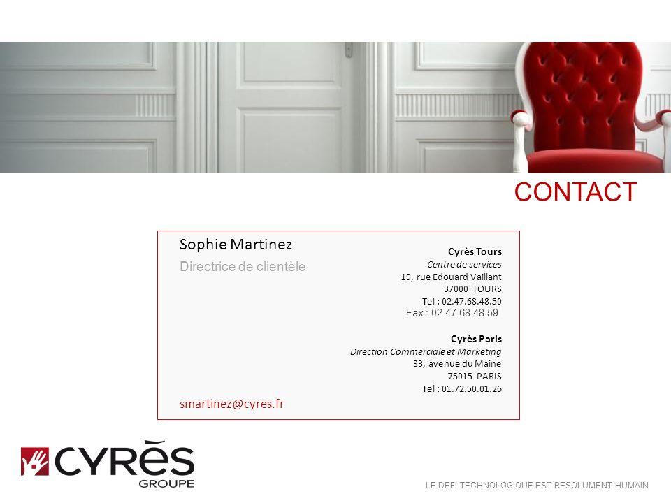 CONTACT Sophie Martinez Directrice de clientèle smartinez@cyres.fr