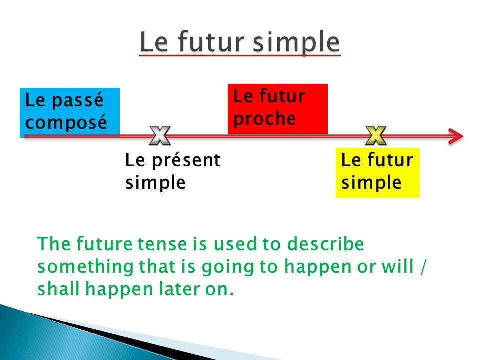 Le futur simple Le futur proche Le passé composé Le présent simple