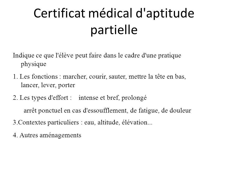 Certificat médical d aptitude partielle