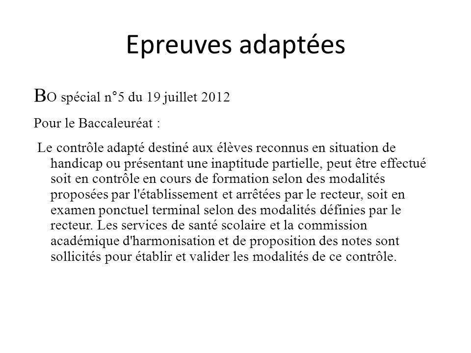 Epreuves adaptées BO spécial n°5 du 19 juillet 2012