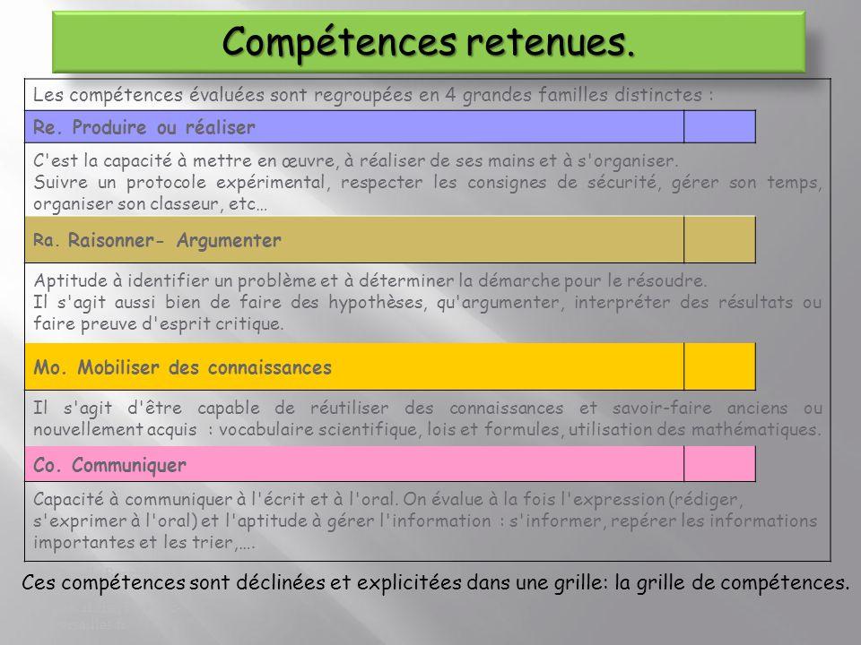 Compétences retenues. Les compétences évaluées sont regroupées en 4 grandes familles distinctes : Re. Produire ou réaliser.