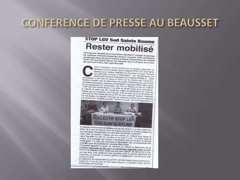 CONFERENCE DE PRESSE AU BEAUSSET