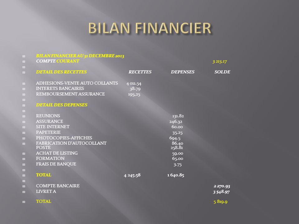 BILAN FINANCIER BILAN FINANCIER AU 31 DECEMBRE 2013