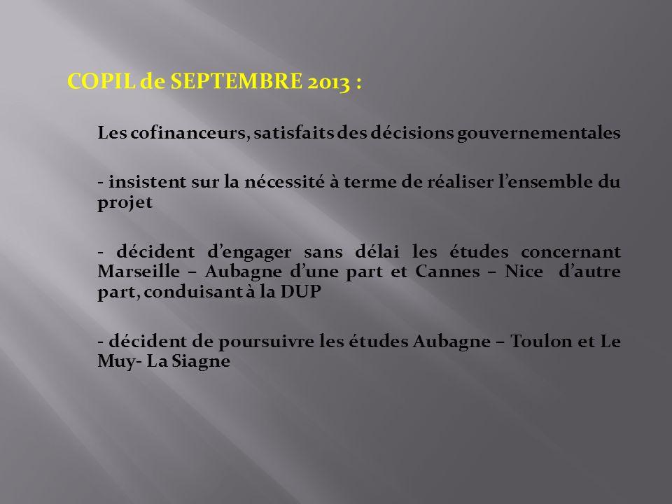 COPIL de SEPTEMBRE 2013 : Les cofinanceurs, satisfaits des décisions gouvernementales.