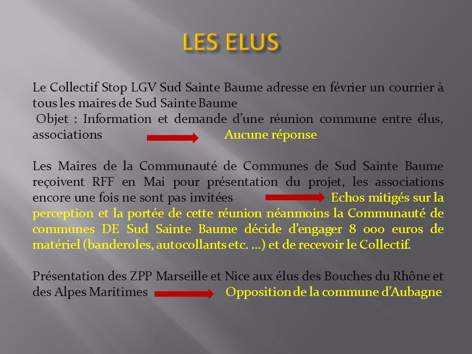 LES ELUS Le Collectif Stop LGV Sud Sainte Baume adresse en février un courrier à tous les maires de Sud Sainte Baume.