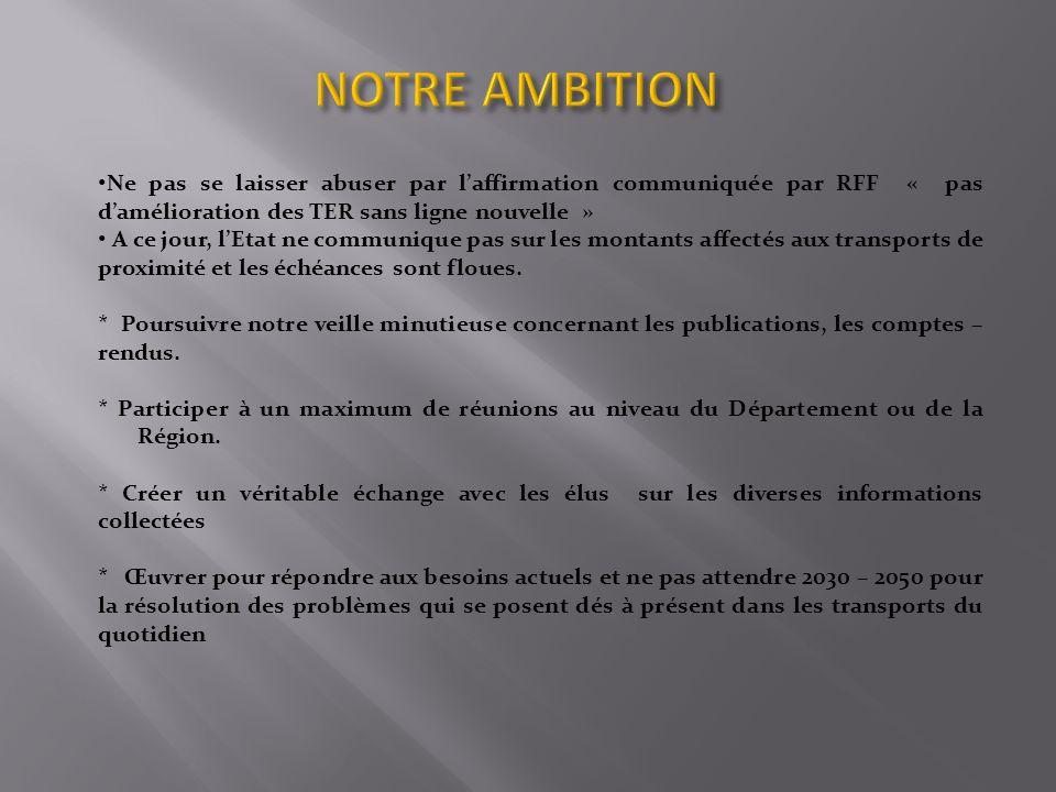 NOTRE AMBITION Ne pas se laisser abuser par l'affirmation communiquée par RFF « pas d'amélioration des TER sans ligne nouvelle »