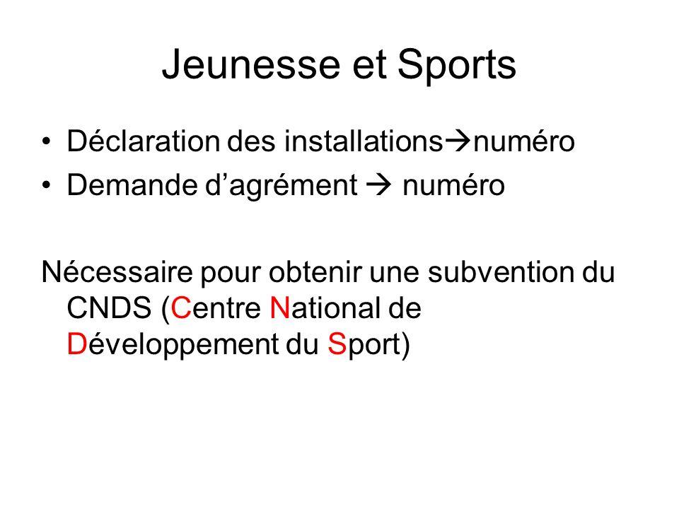 Jeunesse et Sports Déclaration des installationsnuméro