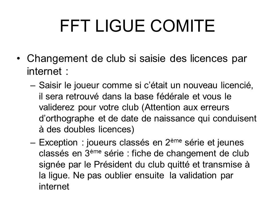FFT LIGUE COMITE Changement de club si saisie des licences par internet :