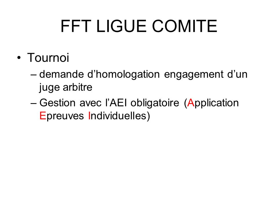 FFT LIGUE COMITE Tournoi