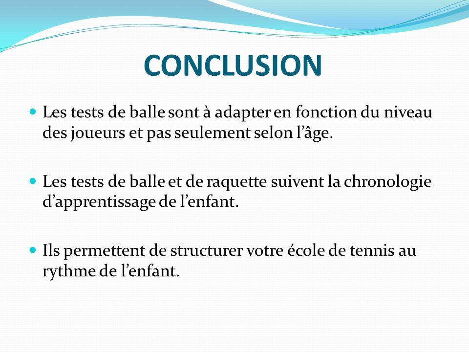 CONCLUSION Les tests de balle sont à adapter en fonction du niveau des joueurs et pas seulement selon l'âge.