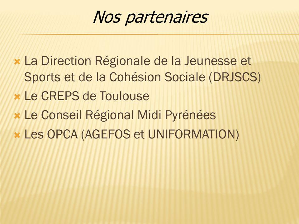 Nos partenaires La Direction Régionale de la Jeunesse et Sports et de la Cohésion Sociale (DRJSCS) Le CREPS de Toulouse.