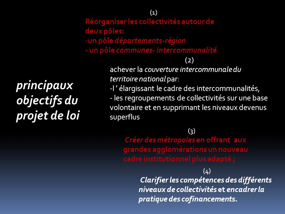 principaux objectifs du projet de loi