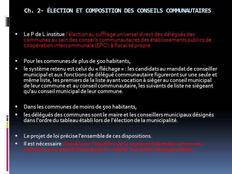 Ch. 2- ÉLECTION ET COMPOSITION DES CONSEILS COMMUNAUTAIRES
