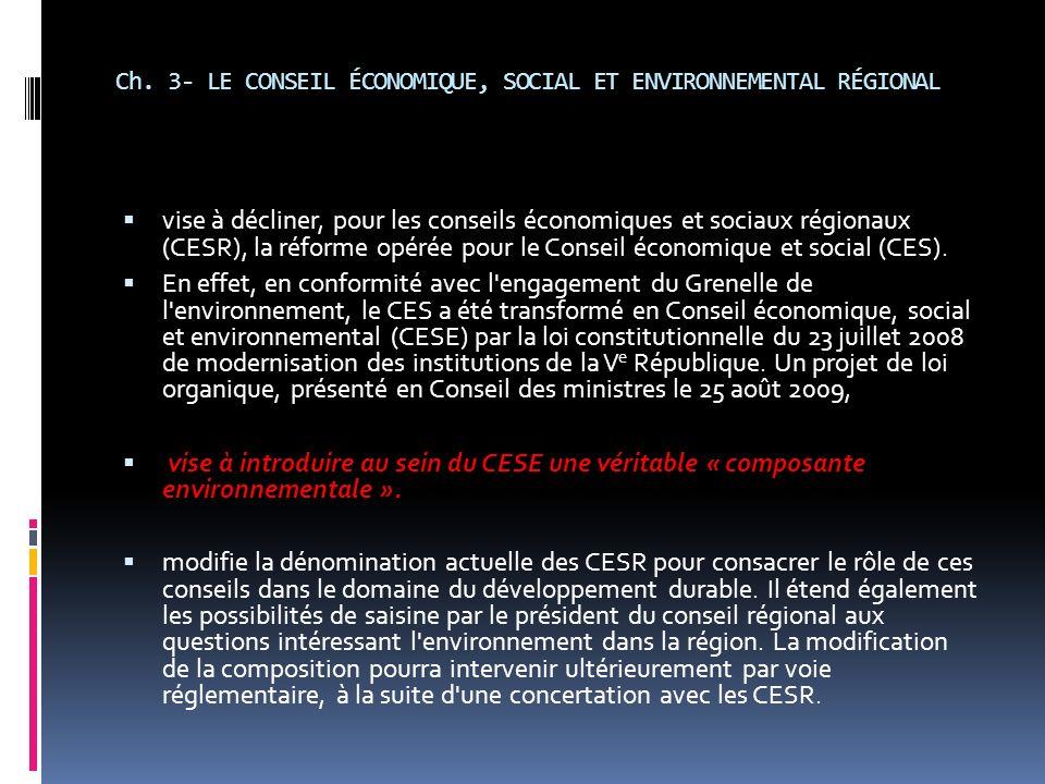 Ch. 3- LE CONSEIL ÉCONOMIQUE, SOCIAL ET ENVIRONNEMENTAL RÉGIONAL