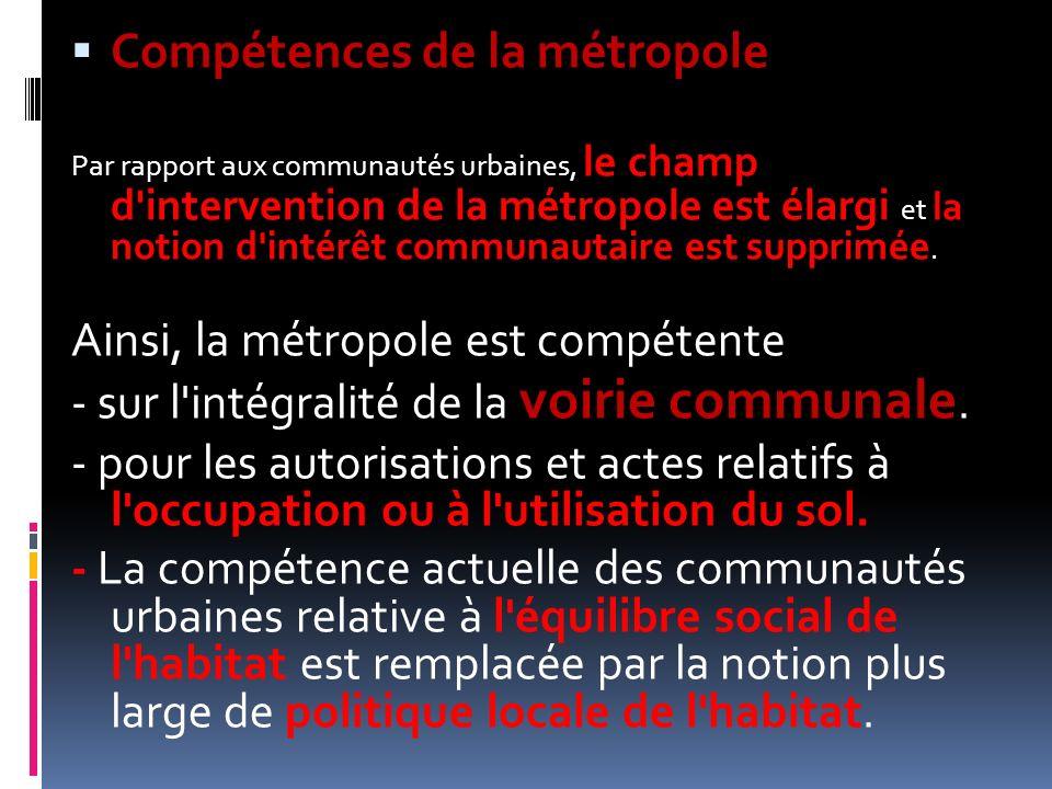 Compétences de la métropole