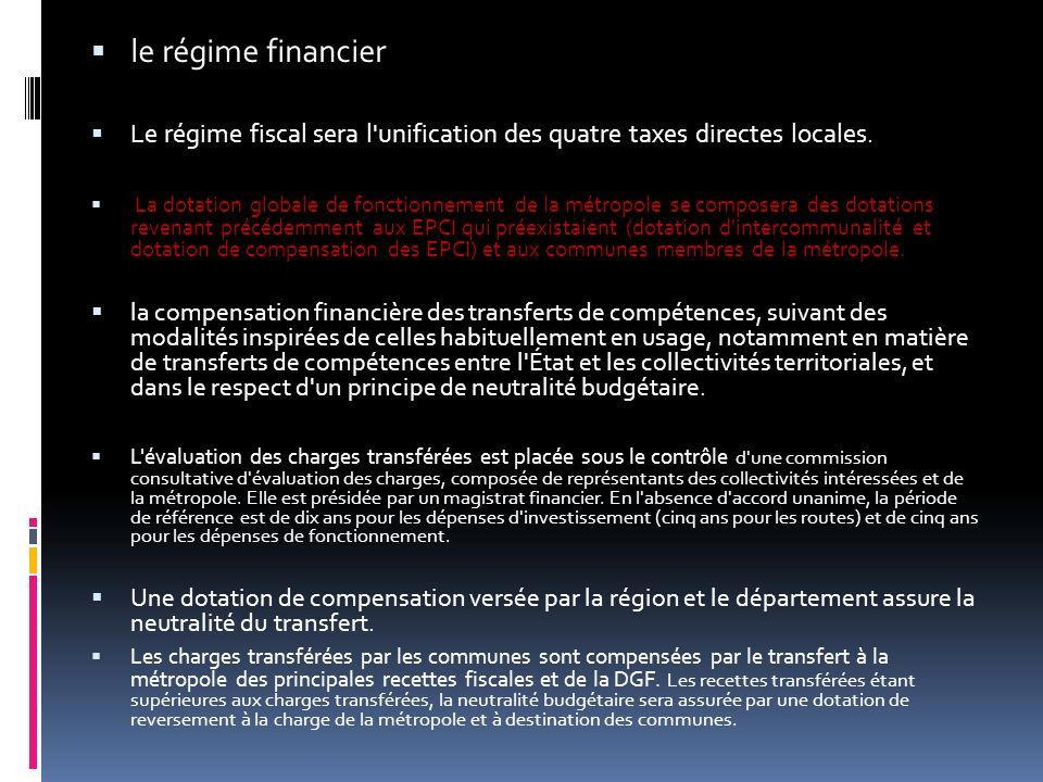 le régime financier Le régime fiscal sera l unification des quatre taxes directes locales.