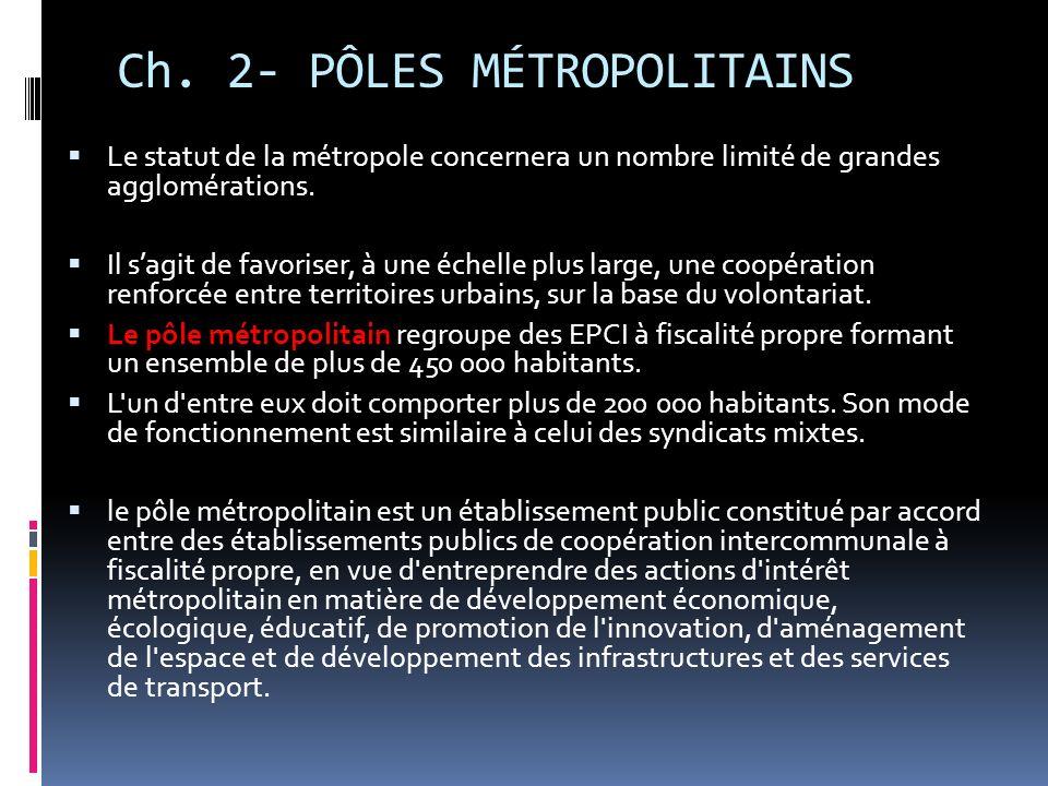 Ch. 2- PÔLES MÉTROPOLITAINS