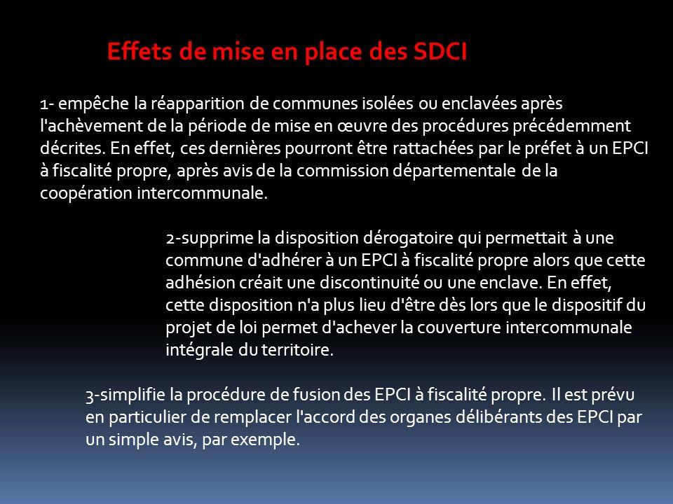 Effets de mise en place des SDCI