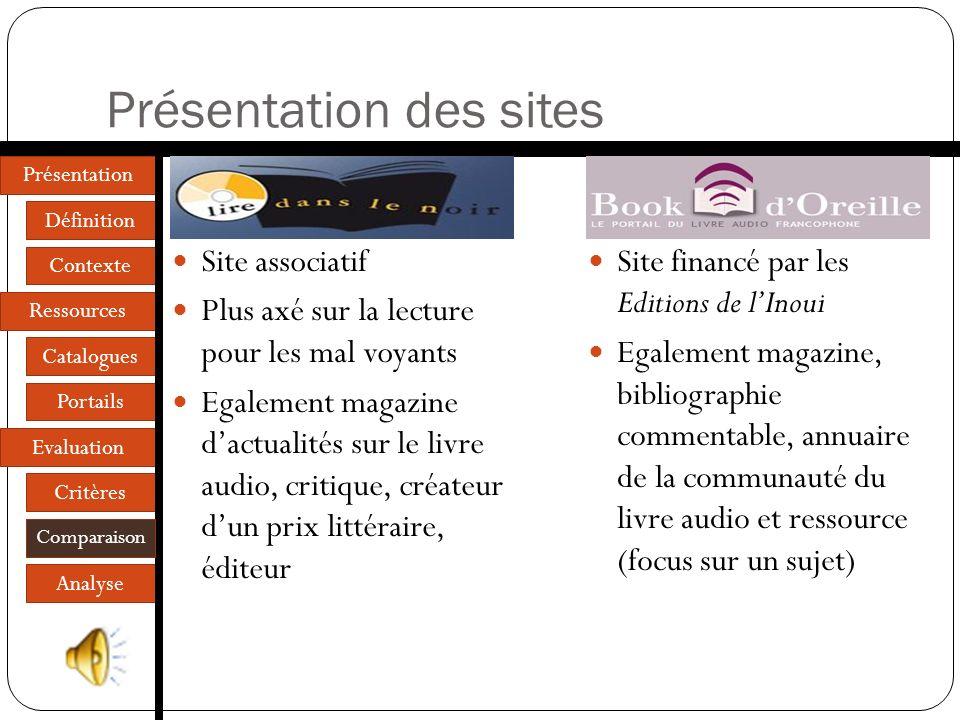 Présentation des sites