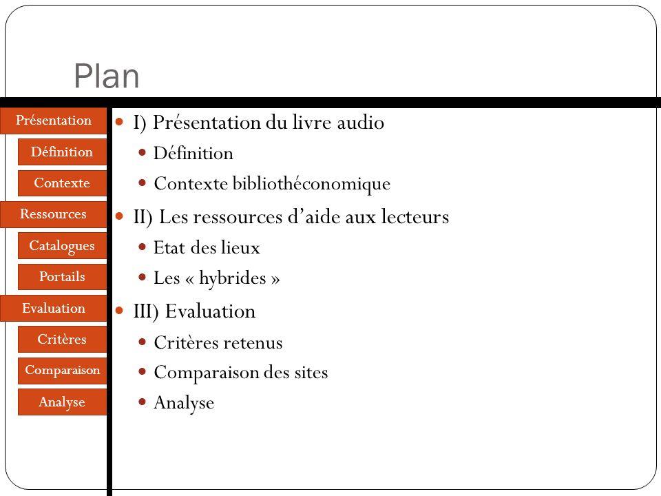 Plan I) Présentation du livre audio