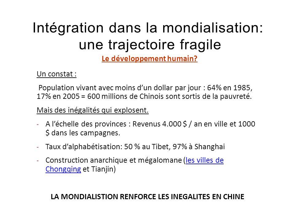 Intégration dans la mondialisation: une trajectoire fragile