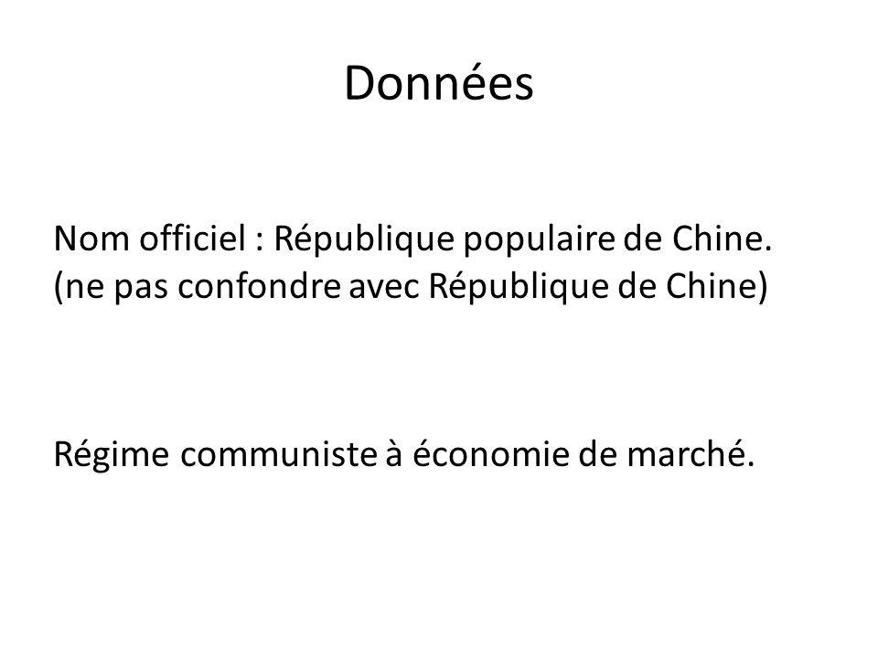 Données Nom officiel : République populaire de Chine.