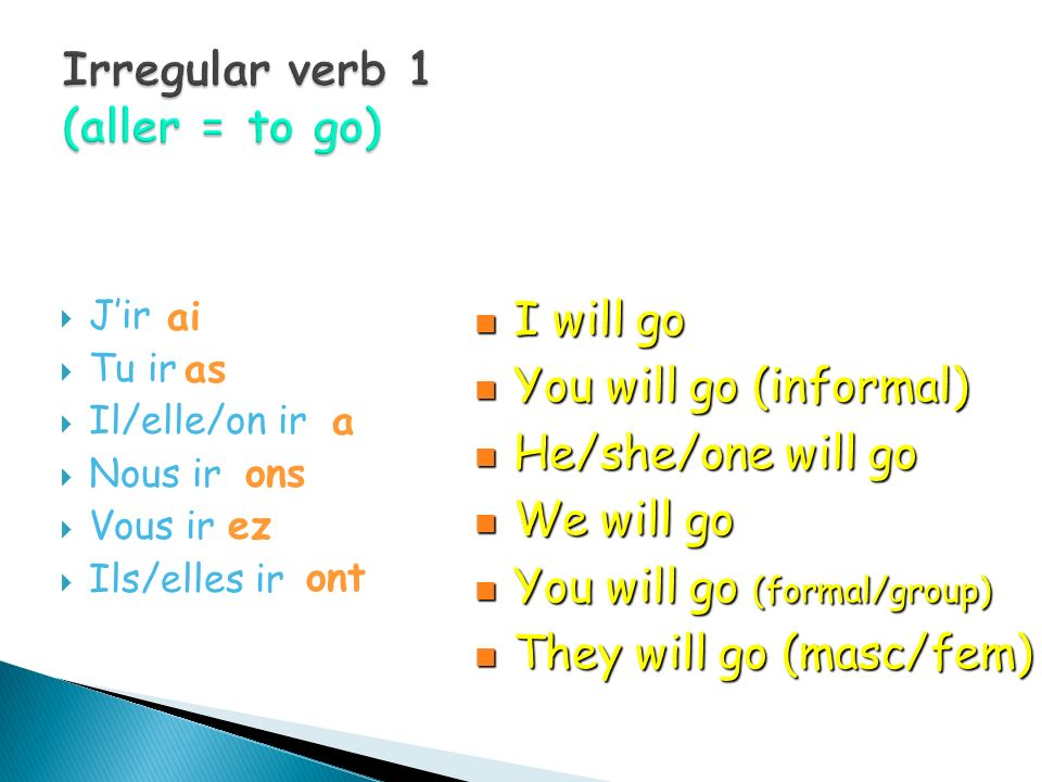 Irregular verb 1 (aller = to go)