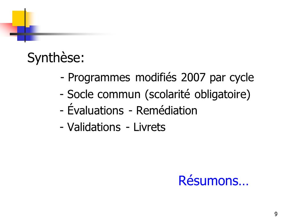 - Programmes modifiés 2007 par cycle