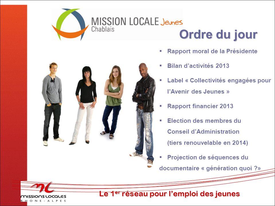 Ordre du jour Le 1er réseau pour l'emploi des jeunes